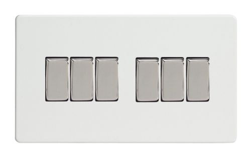 Varilight XDQ96S Screwless Premium White 6 Gang 10A 1 or 2 Way Rocker Light Switch